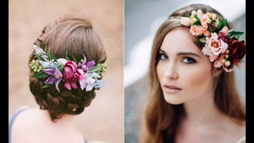 Peinados con tocados florales