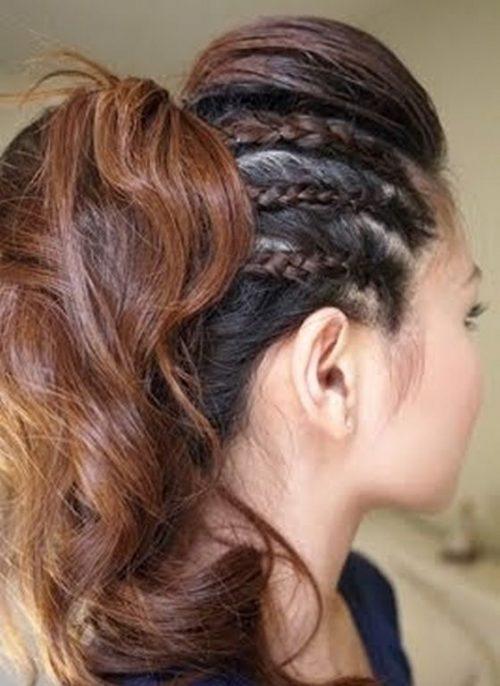 Peinados rockeros con trencitas