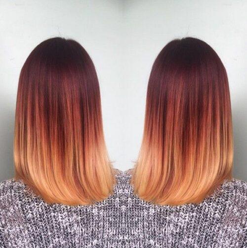 Mechas para cabello largo cobrizas rubias