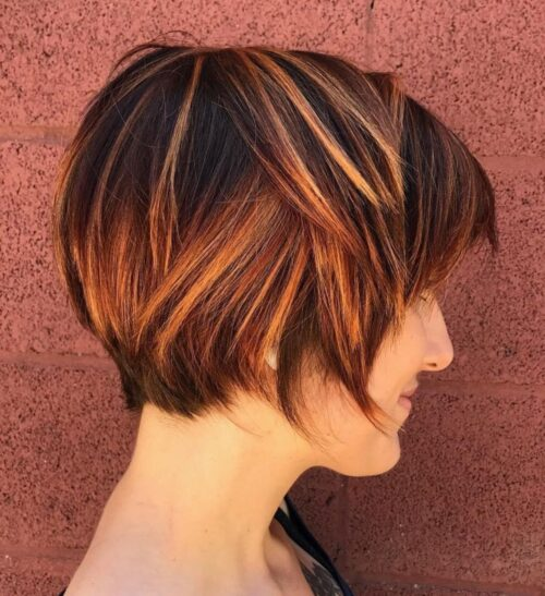 mechas corte de pelo corto cobrizas