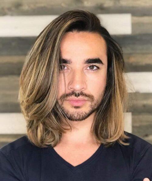 mechas para hombres cabello largo rubias