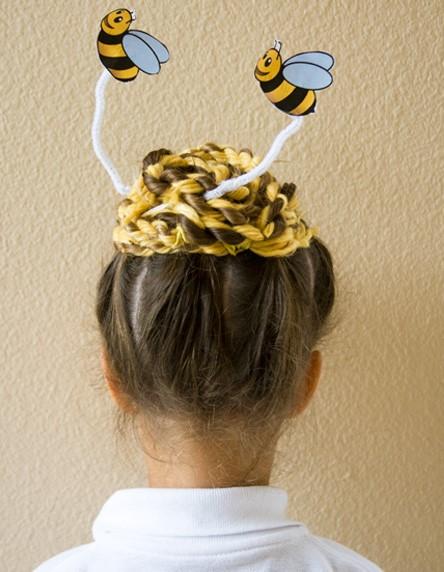 peinado loco para niña con abejas