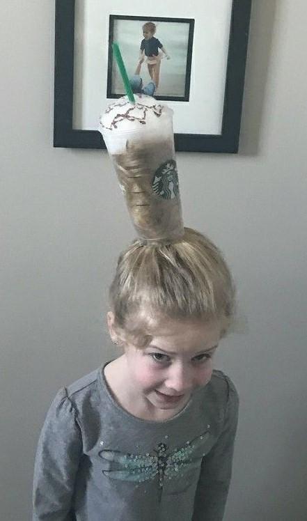peinado loco para niña frappe starbucks
