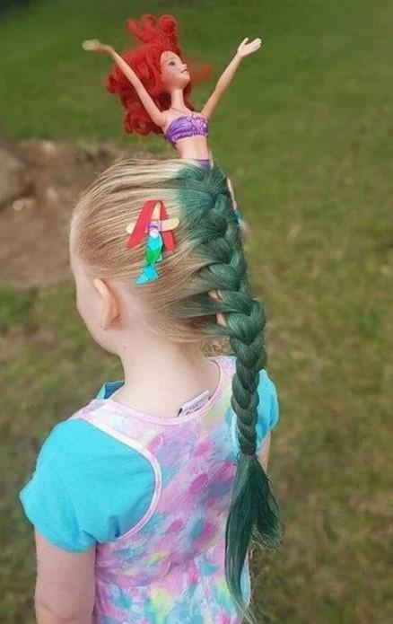 peinado loco de sirena para niña