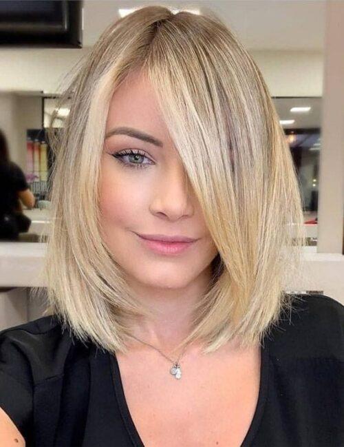 Peinados corto con fleco largo para verse delgada