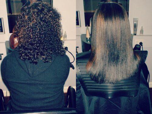 Planchado permanente cabello rizado